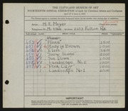 Entry card for Meyer, Melvin Edward for the 1932 May Show.