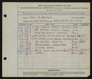 Entry card for Meyer, Paul A. for the 1932 May Show.
