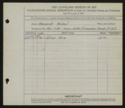 Entry card for Michael, Margaret for the 1932 May Show.