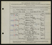 Entry card for Miles Studio, and Miles, Eugene R. for the 1932 May Show.