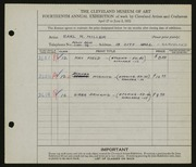 Entry card for Miller, Earl R. for the 1932 May Show.
