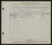 Entry card for Miller, Franklin for the 1932 May Show.