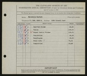 Entry card for Monfort, Carabelle for the 1932 May Show.