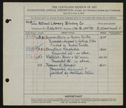 Entry card for National Library Bindery Co., and Foresta, Andrea; Stiles, Gertrude for the 1932 May Show.