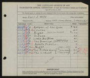 Entry card for Neff, Earl J., and Cherry, John Terrance for the 1932 May Show.