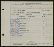 Entry card for Oppmann, Paul H. for the 1932 May Show.
