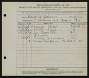 Entry card for Patterson, Robert W. for the 1932 May Show.