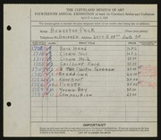Entry card for Peck, Augustus for the 1932 May Show.
