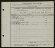 Entry card for Pickands, James, II for the 1932 May Show.