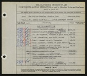 Entry card for Potter and Mellen, and Heiser, Bruce D.; Olney, H. W.; Potter, Horace Ephraim; Burton, John S.; Kraft, Allison A.; Naukler, Henning for the 1932 May Show.
