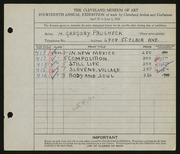 Entry card for Prusheck, Harvey Gregory for the 1932 May Show.