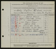Entry card for Richards, Walter Dubois for the 1932 May Show.