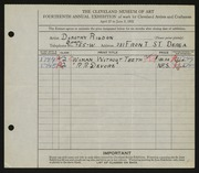 Entry card for Rigdon, Dorothy N. for the 1932 May Show.