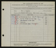 Entry card for Ruggles, E. A. (Edd Alvah) for the 1932 May Show.