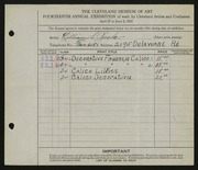 Entry card for Rusk, Lillian S. for the 1932 May Show.