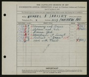 Entry card for Sarisky, Michael A. for the 1932 May Show.