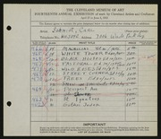 Entry card for Schmidt, Carl for the 1932 May Show.