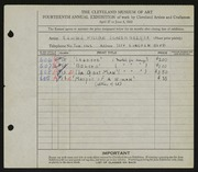 Entry card for Schoenberger, Edward William for the 1932 May Show.