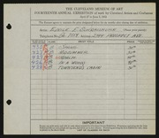 Entry card for Schraishuhn, Eunice E. for the 1932 May Show.