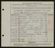 Entry card for Schreckengost, Viktor for the 1932 May Show.