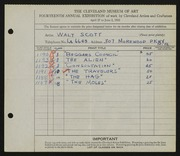 Entry card for Scott, Walter E. for the 1932 May Show.