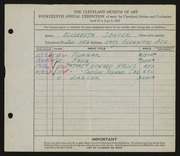 Entry card for Seaver, Elsbeth for the 1932 May Show.