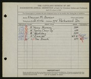 Entry card for Dittenhaver, Eleanor Senior for the 1932 May Show.
