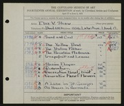 Entry card for Shaw, Elsa Vick for the 1932 May Show.
