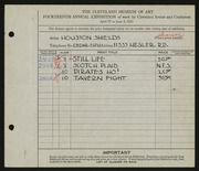 Entry card for Shields, Houston for the 1932 May Show.