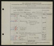 Entry card for Siebold, Chester for the 1932 May Show.