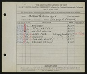 Entry card for Silberger, Manuel G. for the 1932 May Show.