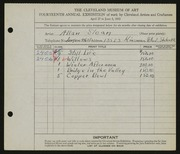 Entry card for Sloan, Allan E. for the 1932 May Show.