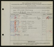Entry card for Sommer, William for the 1932 May Show.