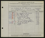 Entry card for Stern, Leonard X. for the 1932 May Show.