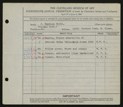Entry card for Stitt, J. Raymond for the 1932 May Show.