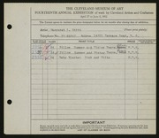 Entry card for Stitt, Margaret L. for the 1932 May Show.