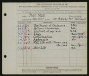 Entry card for Stoll, Rolf for the 1932 May Show.