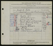 Entry card for Suto, Joseph for the 1932 May Show.