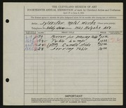 Entry card for Sylvester Metal Works for the 1932 May Show.