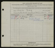 Entry card for Terr, Joseph for the 1932 May Show.