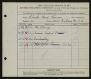 Entry card for Thomas, Charles Hardy for the 1932 May Show.