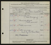 Entry card for Tiberg, Gunhild, and Tiberg, Wiktor for the 1932 May Show.