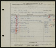 Entry card for Travis, Paul Bough for the 1932 May Show.