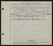 Entry card for Tripp, B. Ashburton for the 1932 May Show.