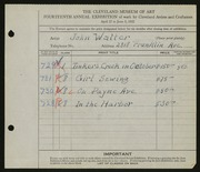 Entry card for Walter, John for the 1932 May Show.