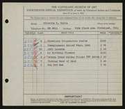 Entry card for Waltz, Olivette K. for the 1932 May Show.