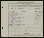 Entry card for Wands, Alfred J. for the 1932 May Show.