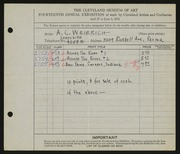 Entry card for Weierich, Andrew Charles for the 1932 May Show.