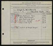 Entry card for Westbrook, Lloyd L. for the 1932 May Show.