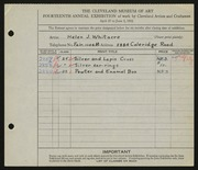 Entry card for Whitacre, Helen J. for the 1932 May Show.